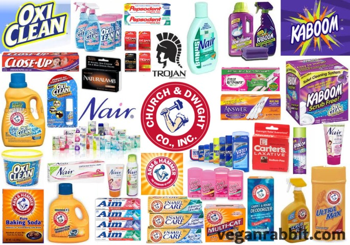 animal testing, vivisection, companies that test on animals, Aim, Answer, Arm & Hammer, Arrid, Cameo, Carter's Laxative, Close-Up, First Response, Kaboom, Lady's Choice, Mentadent, Nair, Naturalamb condoms, Orange Glo, Oxy Clean, Parson's, Pearl Drops, Pepsodent, Rigident, Scrub Free, Snobol,Trojan Condoms