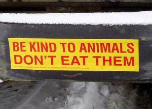 vegan, bumper sticker, be kind to animals