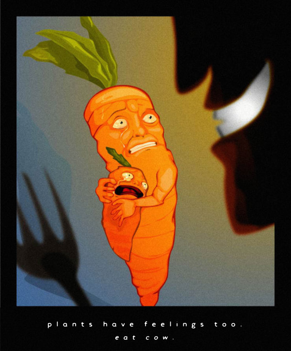 plants have feelings too, carrot, eating, plant sentience, pain, murder