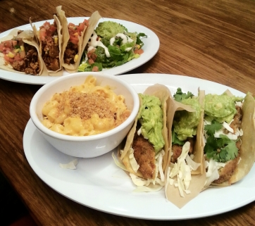 Top: Vegan chicken tacos. Bottom: Vegan fish tacos with vegan macaroni and cheese (from Veggie Grill)