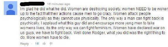male misogynist comments yesallwomen