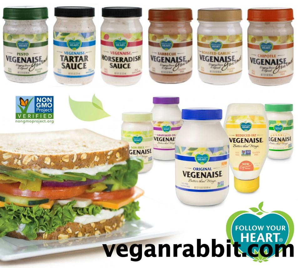 follow your heart, vegenaise, veganaise, vegan, mayonnaise, mayo, vegan mayo, no eggs, eggless, egg-free, products