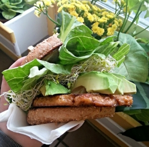 "Vegan garlic ""chicken"" sandwich (from Vegan Joint in Woodland Hills, California)"