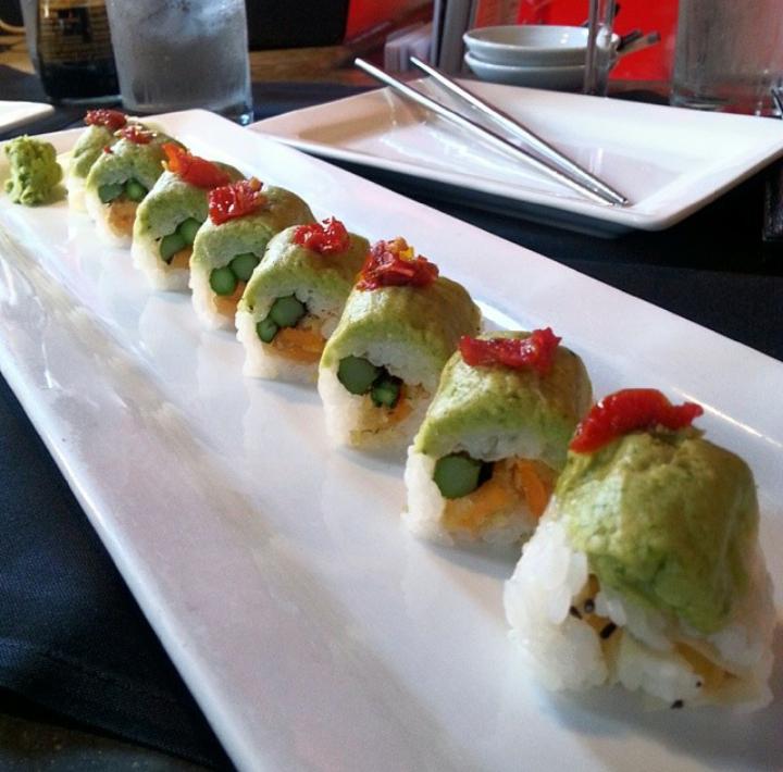 Vegan sushi made with asparagus, sun dried tomato, edamame hummus (at Blue Sushi in Omaha, Nebraska)