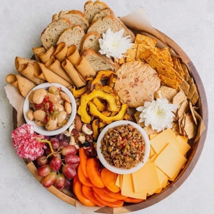 tofurky, vegan, charcuterie, meat and cheese plate, snacks